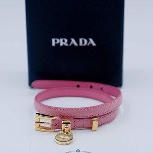Prada Jewelry - Prada Saffiano Signature Logo Charm Wrap Bracelet